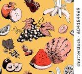 various fruits seamless pattern.... | Shutterstock .eps vector #604184969