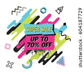 vector abstract sale poster in... | Shutterstock .eps vector #604187729