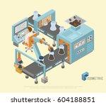 conveyor system in flat design... | Shutterstock .eps vector #604188851