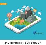 isometric mobile gps navigator. ... | Shutterstock .eps vector #604188887