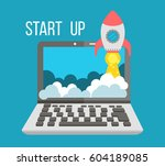 rocket launcher start up  start ... | Shutterstock .eps vector #604189085