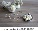 white vase and flowers and home ... | Shutterstock . vector #604190735