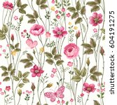 seamless floral pattern with... | Shutterstock .eps vector #604191275