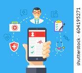 mobile medicine  mhealth ... | Shutterstock .eps vector #604195271