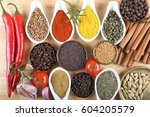 aromatic and colorful spices ... | Shutterstock . vector #604205579