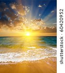 dramatic sunset on a sea coast | Shutterstock . vector #60420952
