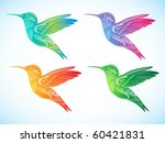 Set Of Colorful Hummingbird