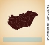 hungary region map  retro style ... | Shutterstock .eps vector #604228751