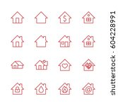 set of house vector line icons. ... | Shutterstock .eps vector #604228991