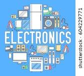 home electronics appliances... | Shutterstock .eps vector #604229771