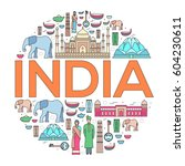 country india travel vacation... | Shutterstock .eps vector #604230611