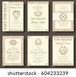set of old luxury flyer pages... | Shutterstock .eps vector #604233239