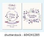 purple wedding invitation ... | Shutterstock .eps vector #604241285
