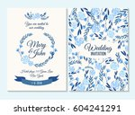 blue wedding invitation  thank... | Shutterstock .eps vector #604241291