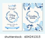 blue wedding invitation  thank... | Shutterstock .eps vector #604241315