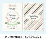 pink and green pastel wedding...   Shutterstock .eps vector #604241321