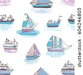 seamless pattern with doodle... | Shutterstock .eps vector #604246805