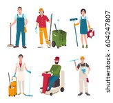 different janitor set. people... | Shutterstock .eps vector #604247807