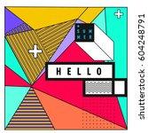trendy vector summer cards... | Shutterstock .eps vector #604248791
