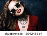 indoor studio close up portrait ... | Shutterstock . vector #604248869