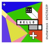 trendy vector summer cards... | Shutterstock .eps vector #604256339