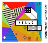 trendy vector summer cards... | Shutterstock .eps vector #604256429