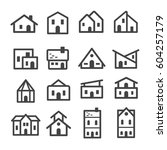 home house line icon set | Shutterstock .eps vector #604257179