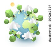 paper art and origami of earth... | Shutterstock .eps vector #604263539