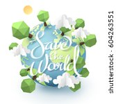 paper art and origami of earth... | Shutterstock .eps vector #604263551