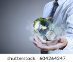 globe  earth in human hand ... | Shutterstock . vector #604264247