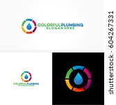 colorful plumbing logo template ... | Shutterstock .eps vector #604267331