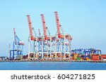 port cargo crane and container  ... | Shutterstock . vector #604271825