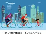 a family of cyclists | Shutterstock .eps vector #604277489