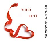 Red Heart Ribbon Bow Isolated...