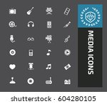 media icon set clean vector | Shutterstock .eps vector #604280105