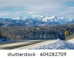 winter mountain road with rocky ... | Shutterstock . vector #604282709