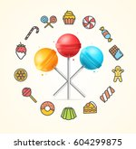 sweets and bakery candy concept ... | Shutterstock .eps vector #604299875