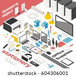 isometric office object vector...