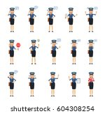 big set of postwoman characters ...   Shutterstock .eps vector #604308254