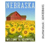 nebraska travel poster or... | Shutterstock .eps vector #604308641