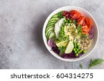 healthy vegan lunch bowl.... | Shutterstock . vector #604314275