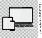 laptop  smartphone and tablet... | Shutterstock .eps vector #604317521