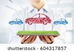 car icon made of gears and... | Shutterstock . vector #604317857