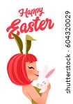 happy easter card. young... | Shutterstock .eps vector #604320029