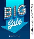 big sale sign. retro light... | Shutterstock .eps vector #604320749