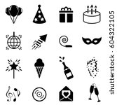 party and celebration icon set... | Shutterstock .eps vector #604322105