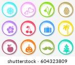 colorful vector calendar circle ... | Shutterstock .eps vector #604323809
