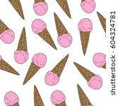 seamless pattern with hand... | Shutterstock .eps vector #604324781