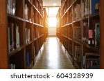 Small photo of Blur image of picture library background. Library resources, including vast knowledge and sun light.