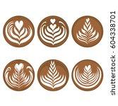 Set Of Latte Art Coffee Vector